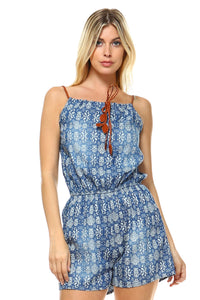 Women's Printed Romper with Braided Pleather Straps