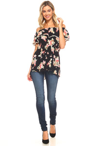 Women's Floral Off Shoulder Layer Top