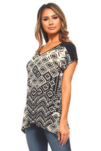 Women's V-Neck High Low Printed Top