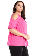 Women's Plus Size Cold Shoulder Beaded Neck Top