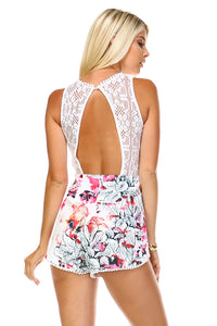 Women's V-Neck Embroidered Detail Romper