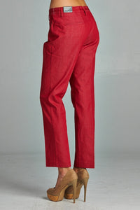 Women's Red Velvet Pants