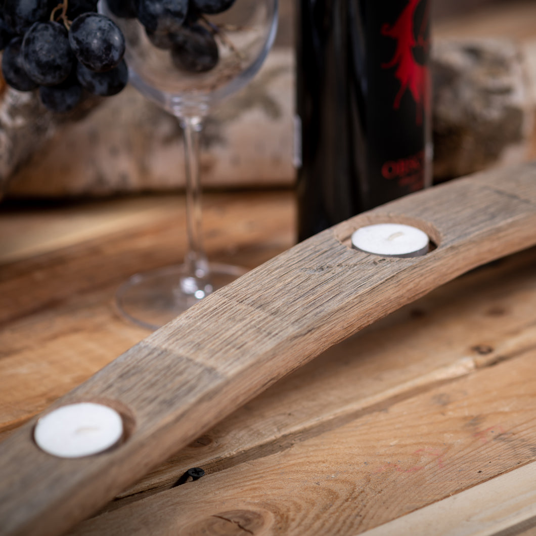 Natural Wood Wine Barrel Candle Holder