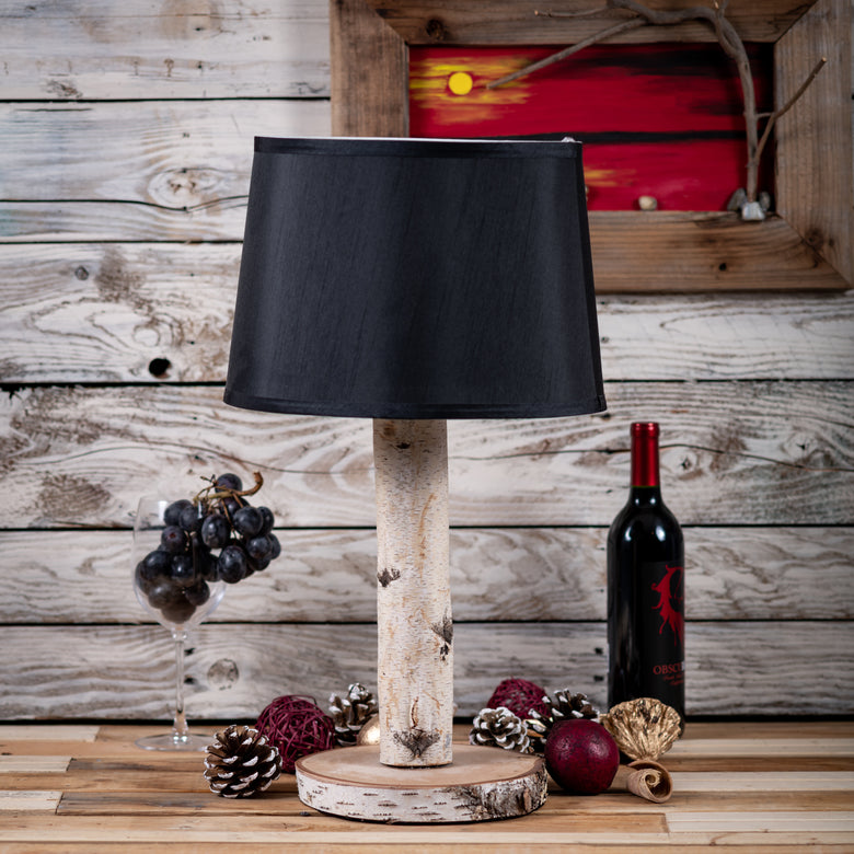 Natural Wood Lamp - Black Shade