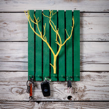 Wooden Key Hanger - Green and Yellow