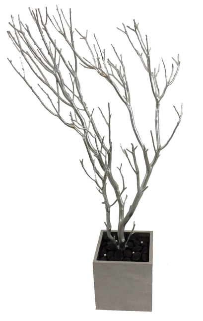 Silver Jewelry Tree with Silver Base