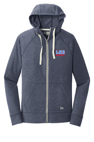 LHS Basketball - Embroidered Sueded Cotton Blend Full-Zip Hoodie