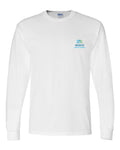 Long sleeved crewneck t-shirt in white with Midco Aquatic Center logo imprinted in full color on the left chest.