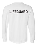 Long sleeved crewneck t-shirt with word lifeguard imprinted in black across the upper back.