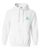 Unisex white hoodie with Midco Aquatic Center logo on left chest.