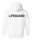 Unisex white hoodie with lifeguard imprinted in black across the upper back.
