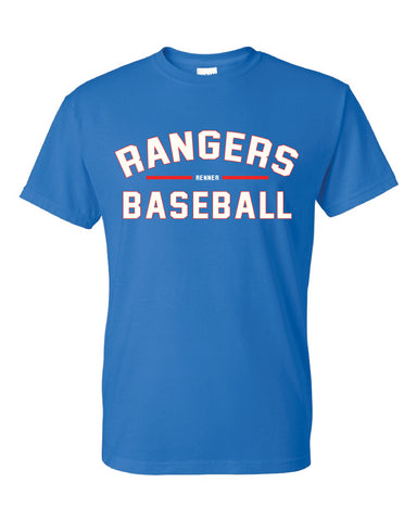 Short sleeve royal blue t-shirt with red and white design on front reading Rangers Baseball