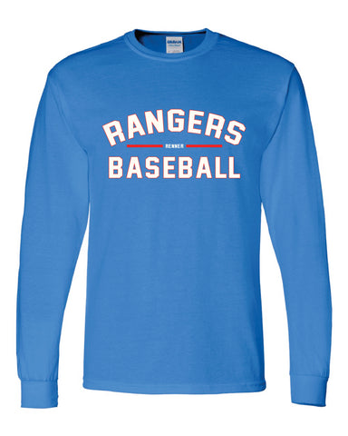 Youth sized long sleeve royal blue t-shirt with red and white print reading Rangers Baseball