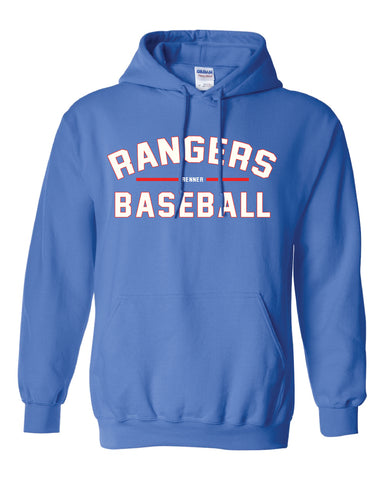 Royal blue hoodie with red and white design on front reading Rangers Baseball