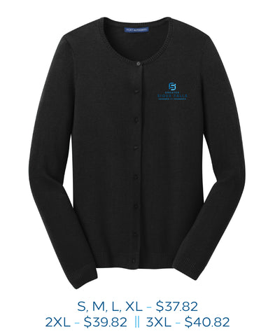 Black womens button up cardigan with Sioux Falls Chamber of Commerce logo embroidered on the left chest in full color.