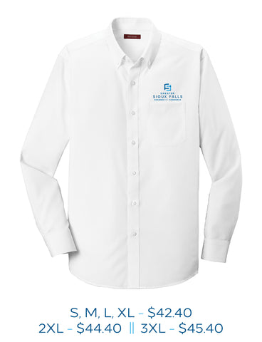 White mens button up dress shirt with Sioux Falls Chamber of Commerce logo embroidered on the left chest above the pocket in full color.