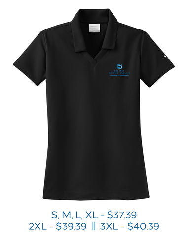 Black womens polo with Sioux Falls Chamber of Commcerce logo embroidered on the left chest in full color.