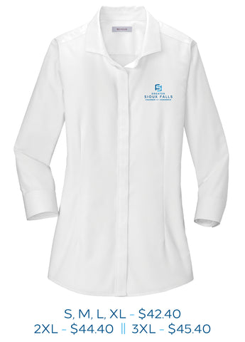White womens three-fourth sleeve button up dress shirt with Sioux Falls Chamber of Commerce logo embroidered in full color on the left chest.