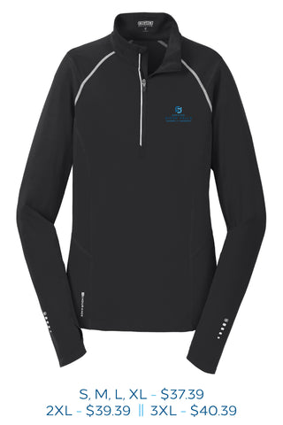 Black womens fourth zip pull over with Sioux Falls Chamber of Commerce logo embroidered on the left chest in full color.