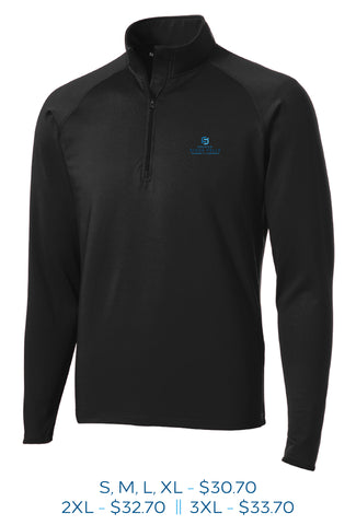 Black mens stretch half zip pull over with Sioux Falls Chamber of Commerce logo embroidered on the left chest in full color.