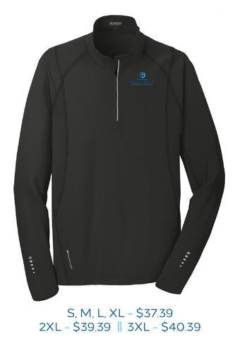 Black mens fourth zip pull over sweatshirt with Sioux Falls Chamber of Commerce logo embroidered on left chest in full color.
