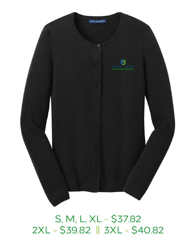 Black womens buttoned cardigan sweater with Sioux Falls Development Foundation logo embroidered on the left chest in full color.