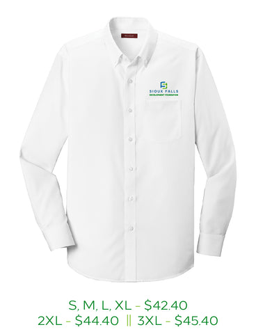 White mens button up shirt with Sioux Falls Development Foundation logo embroidered on left chest in full color.