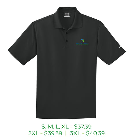 Black men's polo shirt with Sioux Falls Development Foundation logo embroidered on left chest in full color.