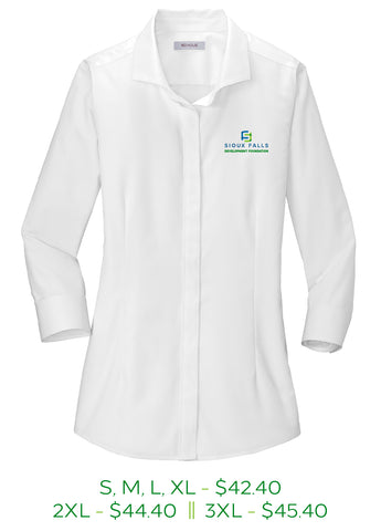Womens button up shirt with three-fourth length sleeves, left chest is embroidered with the Sioux Falls Development Foundation logo in full color.