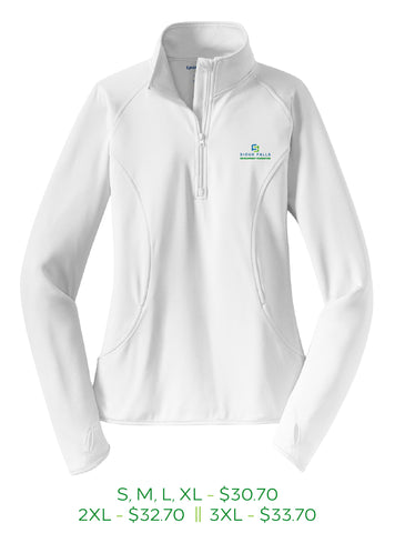 White womens half zip pull over with Sioux Falls Development Foundation logo embroidered on left chest in full color.