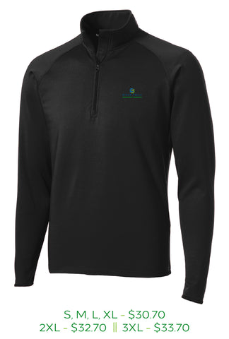 Mens stretch fourth zip pull over with Sioux Falls Development Foundation logo embroidered on the left chest in full color.