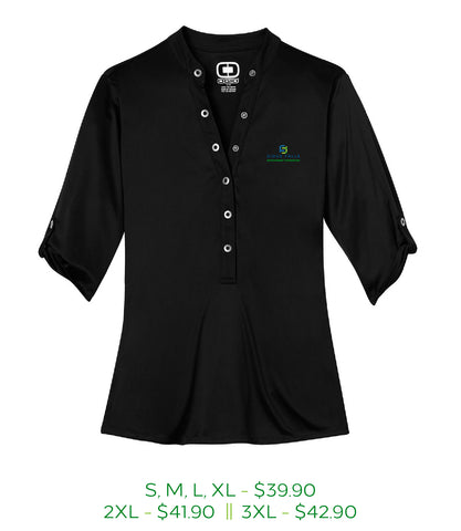 Black womens crush henley with Sioux Falls Development Foundation logo embroidered on the left chest in full color.