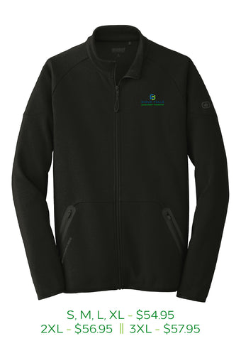 Blacktop mens zip up jacket with Sioux Falls Development Foundation logo embroidered in full color on left chest.