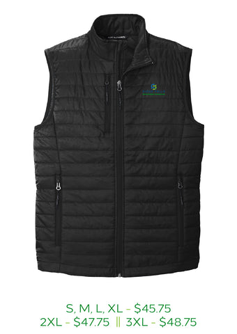 Puffy mens vest in deep black with Sioux Falls Development Foundation logo embroidered on left chest in full color.
