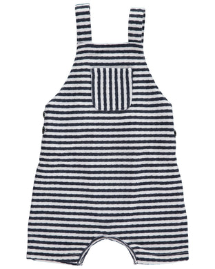 Navy/White jersey shortie dungarees