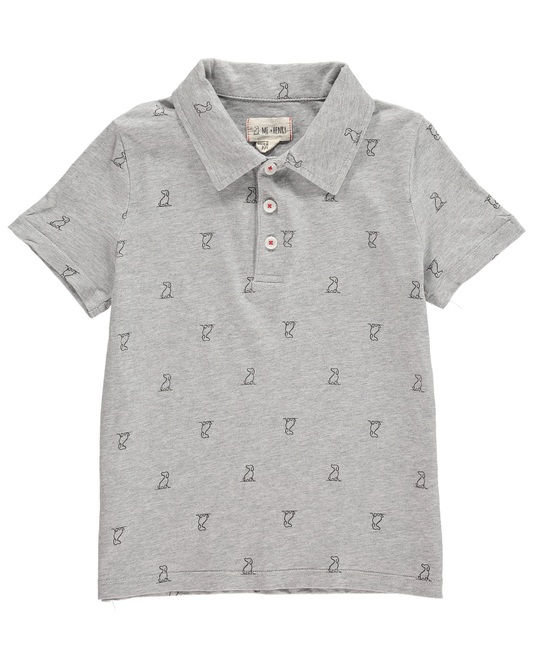 Dark grey Henry print polo