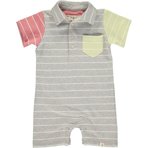 Grey/multi stripe jersey polo romper