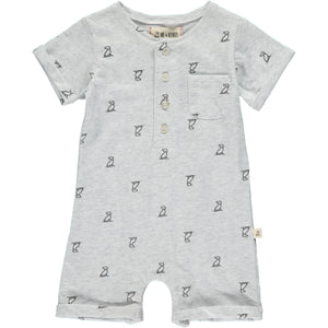 Grey Henry dog print romper