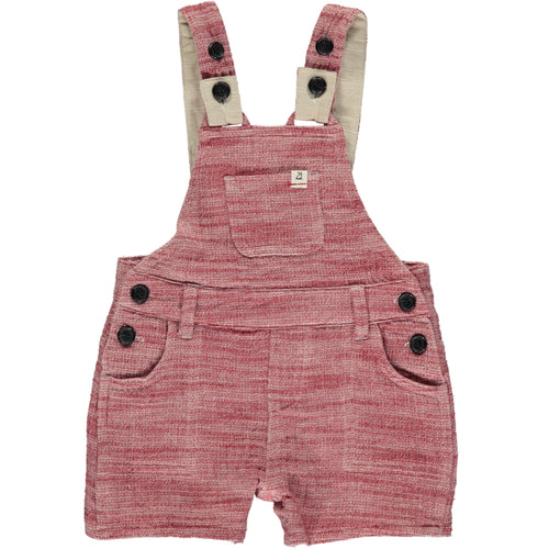 Red gauze woven shortie dungarees