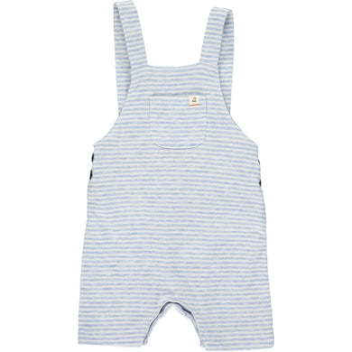 Blue/white jersey shortie dungarees