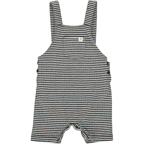 Black/white jersey shortie dungarees