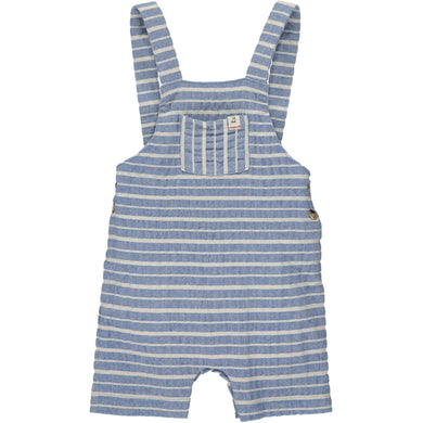 Blue/white woven shortie dungarees