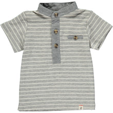 Grey/white stripe henley