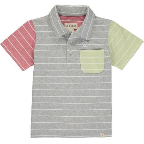 Grey/white stripe polo