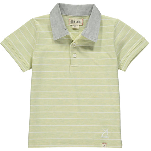 Lime/white stripe jersey polo