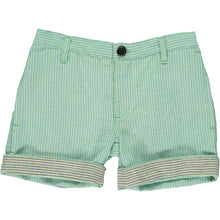 Green/blue stripe turn-up shorts