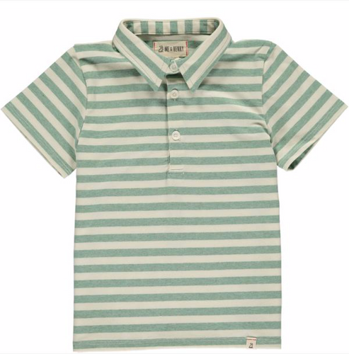 Green/cream stripe polo