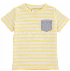 Yellow stripe pocketed tee
