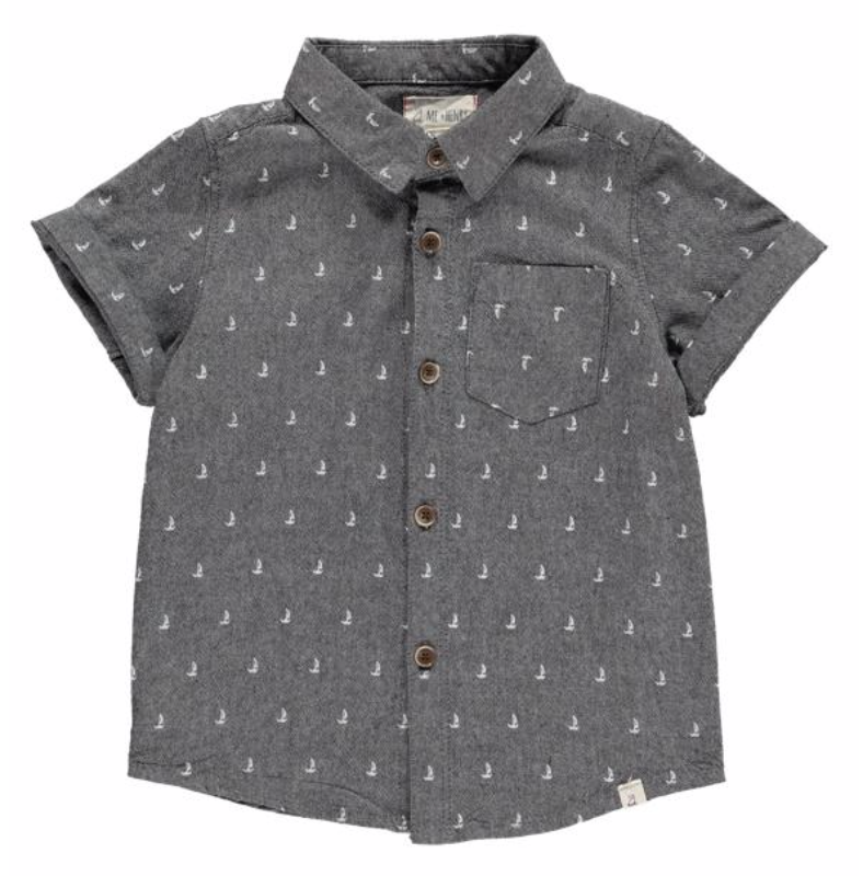 Grey chambray boat print shirt
