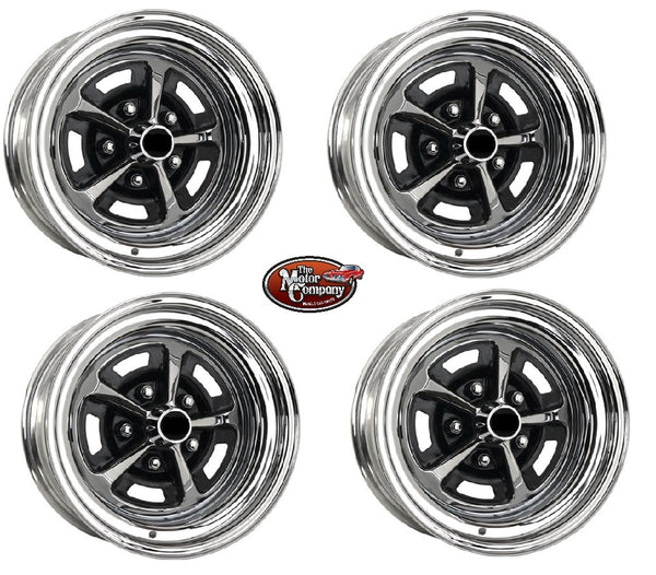 1969 1970 Chevelle 14/7 14 x 7 SS396 Chrome / Black Complete Wheel Set IN STK